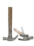 Single old hammer and two broken old hammers. Stock Image