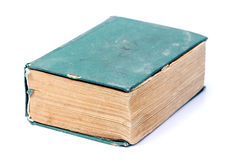 Single old hard cover green book isolated over white Stock Photography