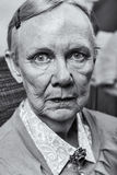 Single Old Lady. Looks harshly at camera Stock Images