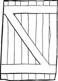Single old reinforced wooden door outline Stock Image