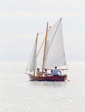 Single old sailing ship rowing Royalty Free Stock Images