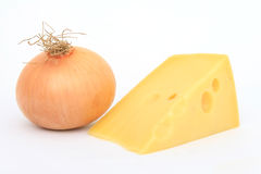 Single onion with Swiss cheese. Single healthy onion with Swiss cheese, isolated on white, macro, close up, with copy space Royalty Free Stock Photos