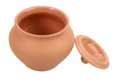 Single open empty ceramic pot Royalty Free Stock Image