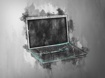 Single open laptop in gray painterly effect Stock Photo