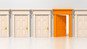 Single open orange door Stock Photography