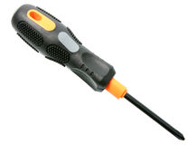 Single orange-black screwdriver Royalty Free Stock Photography