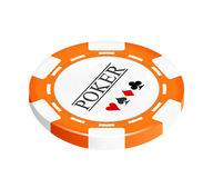 Single orange casino chip isolated on white Royalty Free Stock Photo