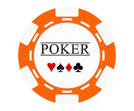 Single orange casino chip isolated on white Royalty Free Stock Images