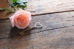 Single orange-pink rose and heart key shape on vintage wooden floor under soft warm light. Backdrop for Valentine& x27;s day. Love stock image