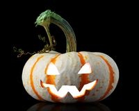 Free Single Orange Striped Pumpkin Jack-o-lantern On Black Royalty Free Stock Photography - 160589337