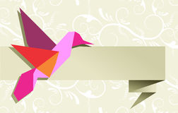 Single Origami hummingbird over floral background Royalty Free Stock Photo