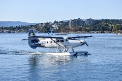 Single Otter Saltspring Air Seaplane about to take flight from downtown Victoria, British Columbia royalty free stock image