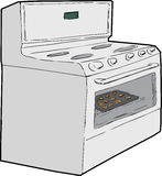 Single Oven with Cookies Inside Royalty Free Stock Photo