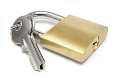 Single Padlock w/ Keys Stock Image
