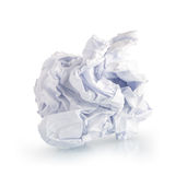 Single page of crumpled paper on white. Background Royalty Free Stock Photography