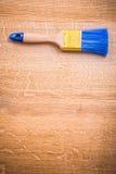 Single paint brush organized copyspace on wooden Royalty Free Stock Photos
