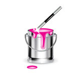 Single paint bucket with magic wand isolated Stock Images