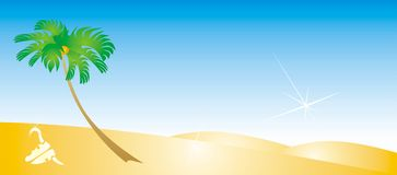 Single palm. Series of desert illustrations and backgrounds Stock Photography