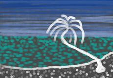Single Palm tree at the beach Royalty Free Stock Photography