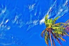Single palm tree on blue sky. Coco palm skyscape. Tropical island vacation vintage digital illustration. Royalty Free Stock Photos