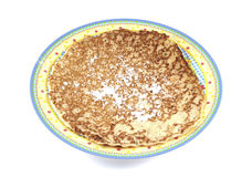 Single pancake on a plate Stock Photo