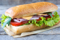 Single panini sandwich. Single Italian panini sandwich on the wooden background,selective focus Stock Photography