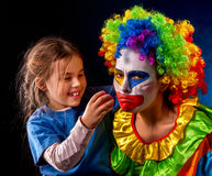 Single parent family. Mom after work birthday clown .Adult child relationship. Royalty Free Stock Image