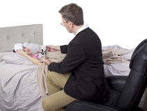 Single Parent And Sick Daughter Stock Photos