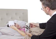 Single Parent And Sick Daughter Royalty Free Stock Photos