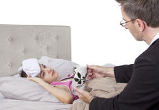 Single Parent And Sick Daughter Royalty Free Stock Images