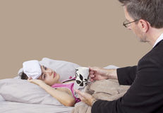 Single Parent And Sick Daughter Royalty Free Stock Photo