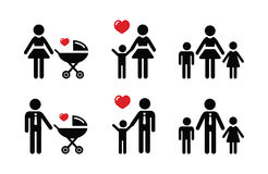 Single parent sign - family icons Royalty Free Stock Images