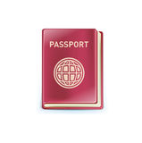 Single passport icon isolated on white Stock Photography