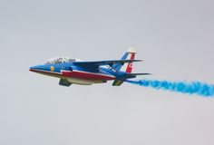 Single Patrouille de France Alpha Jet Royalty Free Stock Images