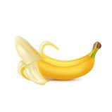 Single peeled banana  Royalty Free Stock Photography