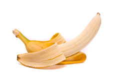 A single peeled fresh banana Stock Photos