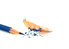 Single pencil with pencil sharpening shavings Royalty Free Stock Photo