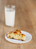 Single pie cake plate glass milk Stock Image