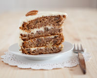 A single piece of Hummingbird cake with pecans Royalty Free Stock Image