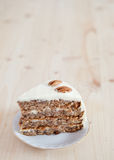 A single piece of Hummingbird cake with pecans Royalty Free Stock Images