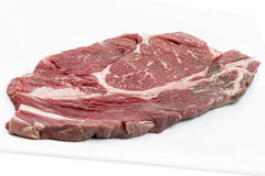 Single piece of ox loin on a white plate Royalty Free Stock Image