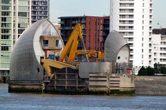 Single pier of Thames Barrier in Woolwich, London, United Kingdom. London, United Kingdom - June 23, 2018: Single pier of Thames Barrier in Woolwich, London stock photography