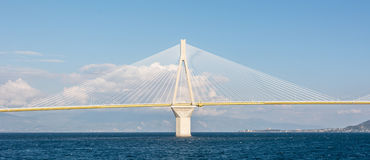 Single pillar of a suspension bridge Stock Image