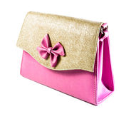 Single pink bag female Stock Images