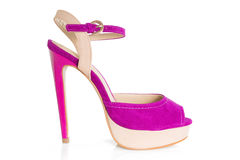 Single pink and beige high hilled shoe on white Stock Photos