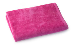 Single pink cloth towel isolated. On white with clipping path royalty free stock photography