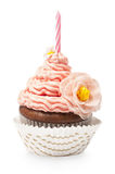 Single pink cupcake Stock Photo