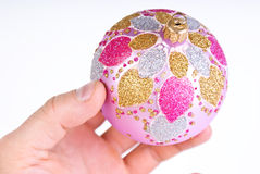 Single pink decoration ball Royalty Free Stock Image