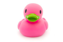 Single pink rubber duck on white Royalty Free Stock Photos