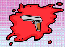 Single Pistol in Blood Royalty Free Stock Photography